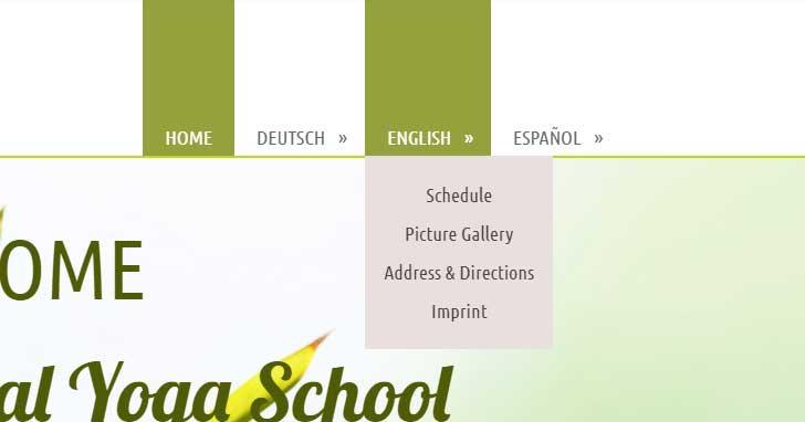 Sitebuilder - In de navigatie ziet de gebruiker de subpagina's voor elke taalversie.
