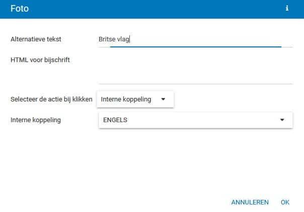 Sitebuilder - Upload een vlagicoon en een link naar een van je drie taalversies