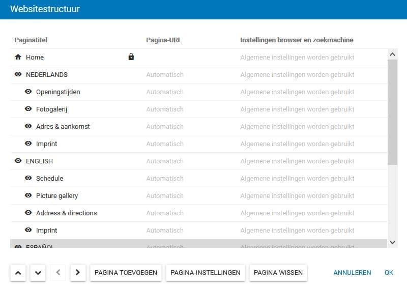 Sitebuilder: zo kan je je websitestructuur opbouwen - voor elke taal een eigen hoofdpagina