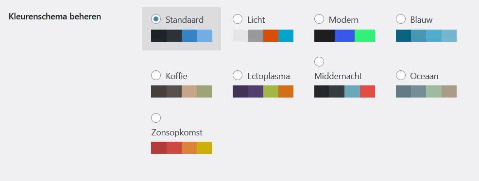 WordPress 5.7: nieuwe kleurschema's