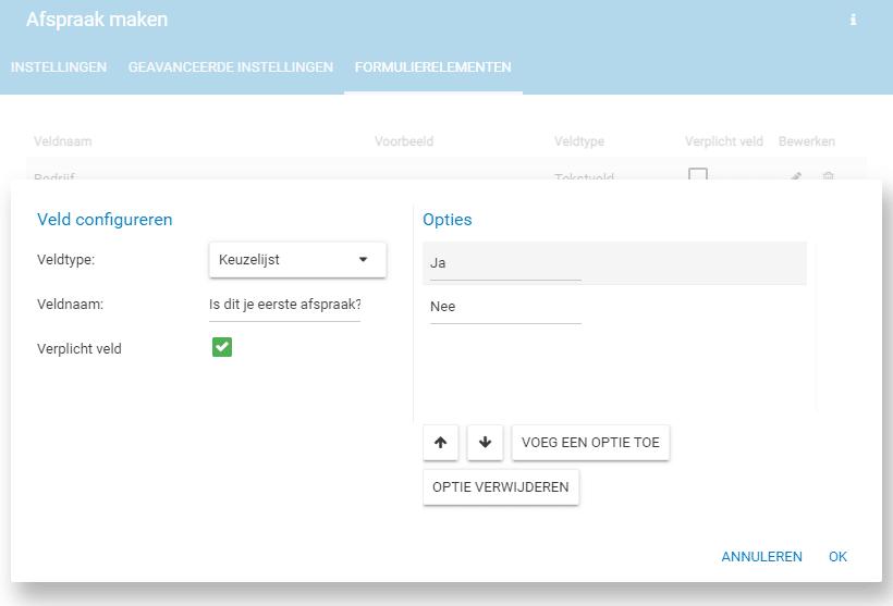 Eigen formuliervelden toevoegen aan de afspraken-widget.