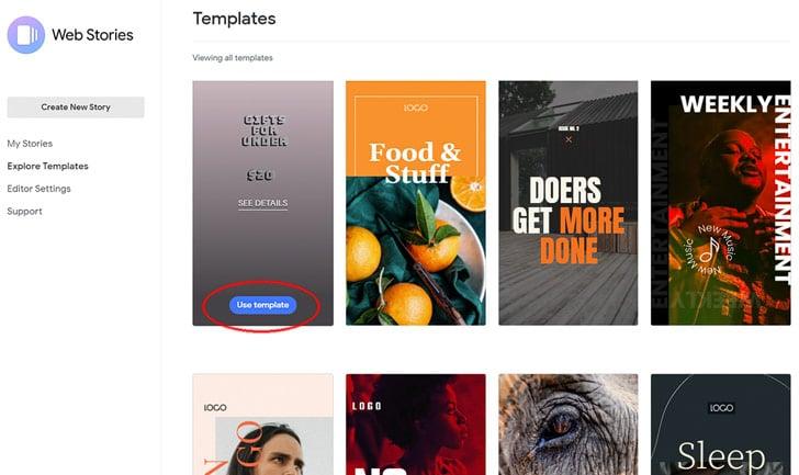 Google Web Stories: Om een nieuwe story aan te maken, kies je eerst een template.