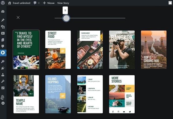 Google Web Stories: Grid View: totaaloverzicht van alle pagina's van je story.