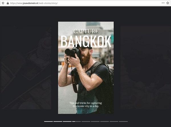 Google Web Stories: desktop weergave