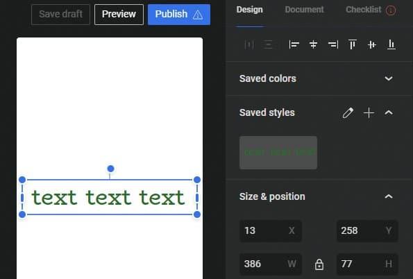 Google Web Stories: tekstopmaak bewaren als sjabloon
