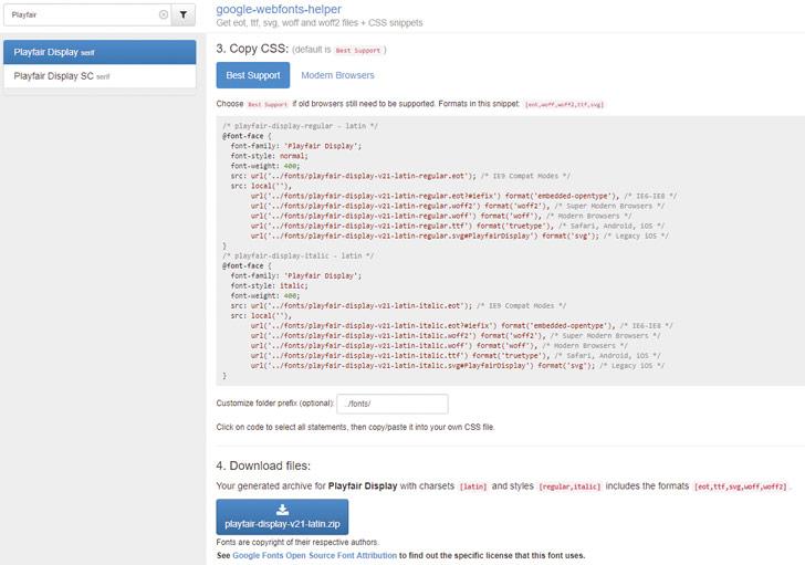 Google Webfont Helper: Download de fontbestanden en kopieer de CSS-code voor het integreren.