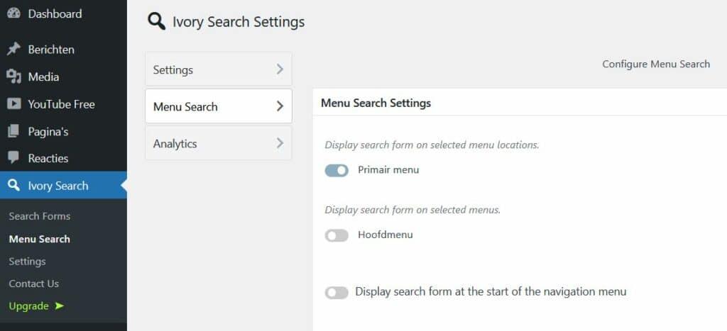 WordPress plug-in Ivory Search: kies de locatie van het zoekveld