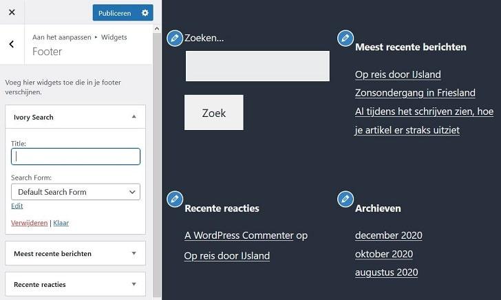 WordPress plug-in Ivory Search: het zoekformulier-widget aanpassen in de WP Customizer