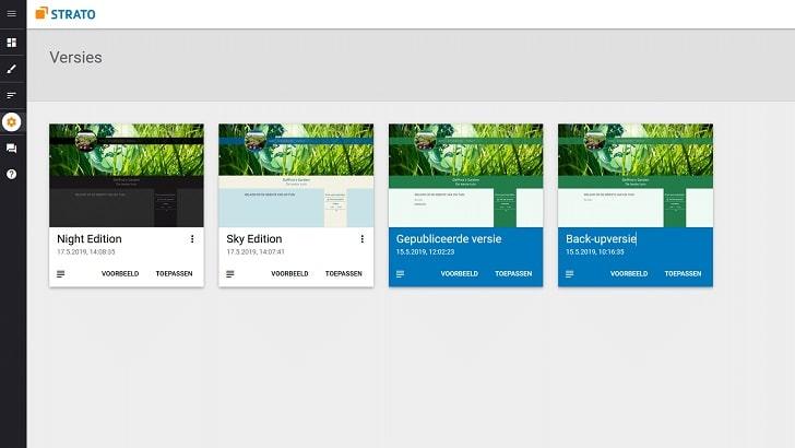 In de Sitebuilder backend kun je de juiste versie selecteren.