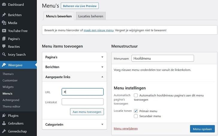 """WordPress costumizer: in """"menu's"""" """"aangepaste links"""" gebruiken"""