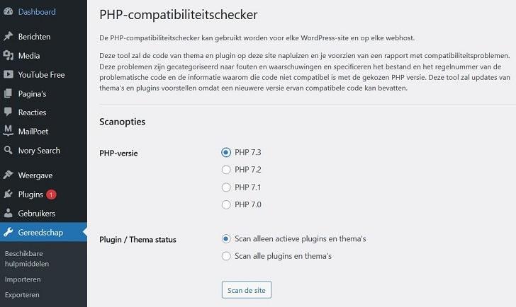 De PHP Compatibility Checker controleert of je plug-ins met een bepaalde PHP-versie compatibel zijn