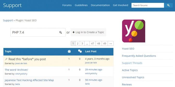 Check op het WordPress Support forum of de plug-in compatibel is met PHP-versie 7.4