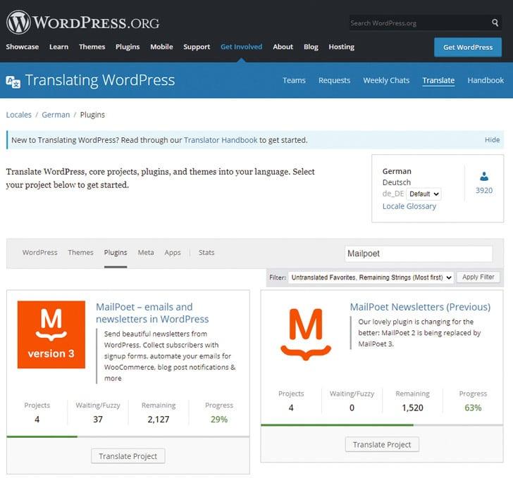 Het vertaalplatform van WordPress: kies de plug-in waarvoor je een taalbestand zoekt.