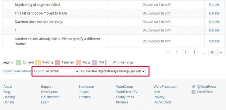 Het vertaalplatform van WordPress: Exporteer het taalbestand dat je daarna wilt bewerken.