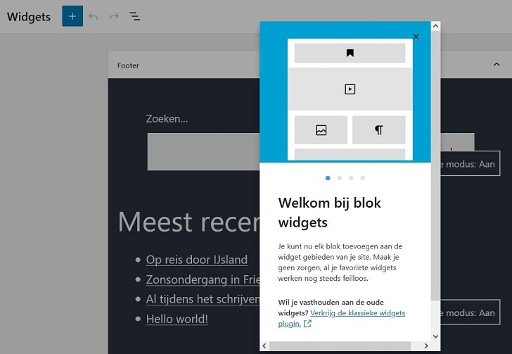 WordPress 5.8: blok widgets