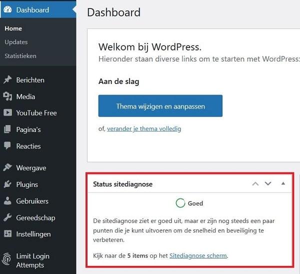 WordPress dashboard - Status sitediagnose