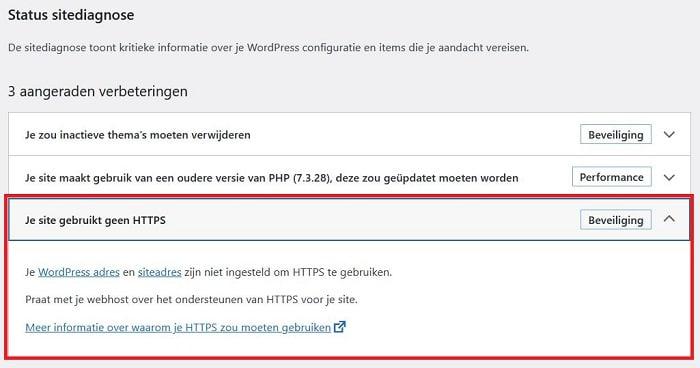 WordPress - sitediagnose zegt dat je geen HTTPS gebruikt