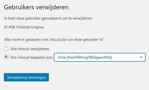WordPress: als je een bestaande gebruiker verwijdert, heb je de keus om de betreffende artikelen aan een andere gebruiker over te dragen