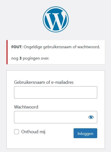 WordPress inloggen - ongeldige gebruikersnaam of wachtwoord