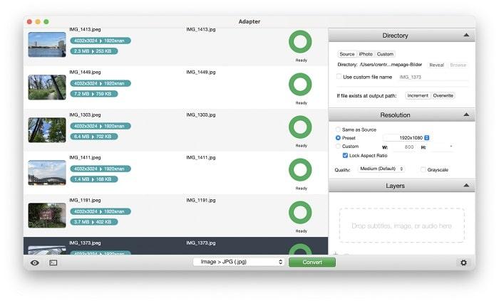 Freeware adapter om afbeeldingen en andere bestanden te converteren en te comprimeren