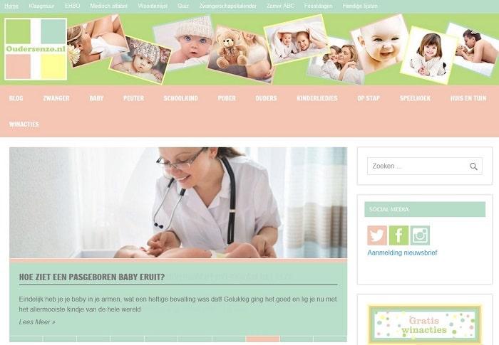 Screenshot van de website oudersenzo.nl