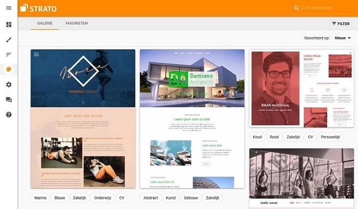 STRATO Sitebuilder: Ontwerpgalerie