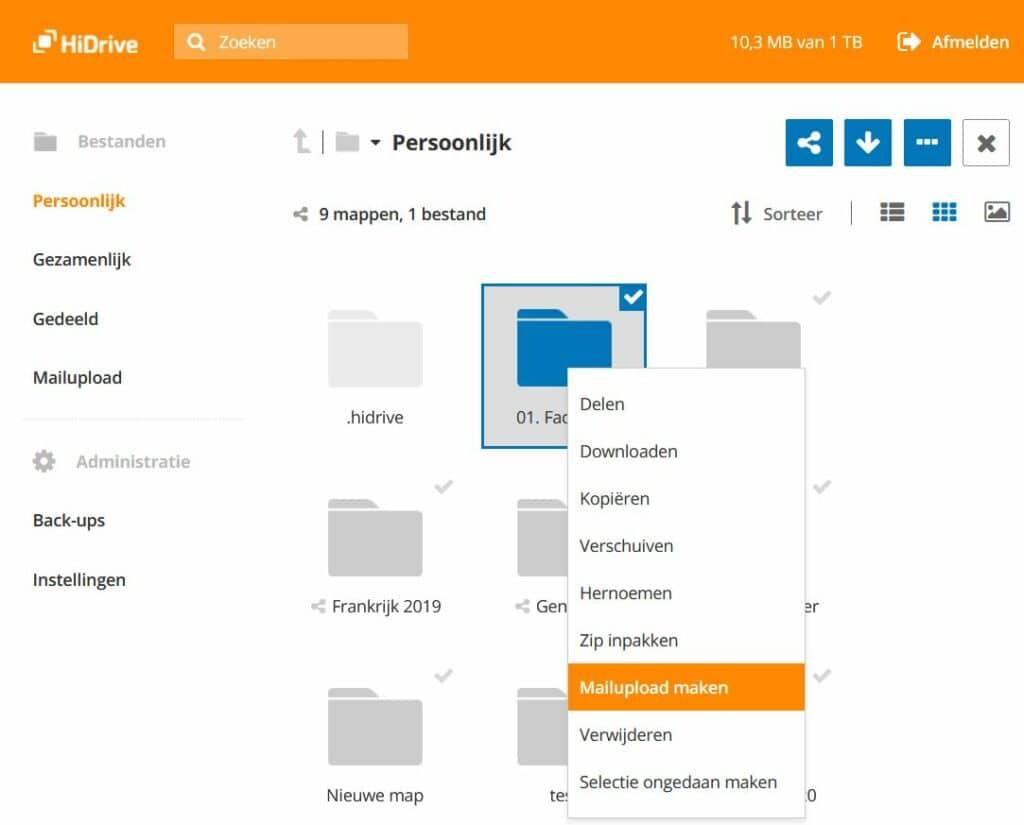 HiDrive: een mailupload maken
